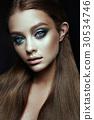 Fashion model Woman with fantasy make up. Long 30534746