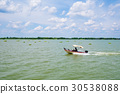 Speed boat on the river with clear blue sky 30538088