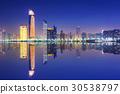 Skyline of Abu Dhabi at night, UAE 30538797