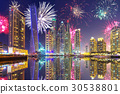Fireworks of Dubai Marina at night, UAE 30538801