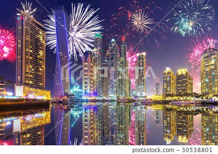 Fireworks of Dubai Marina at night, UAE 30538801