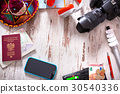 Travel background with accessories 30540336