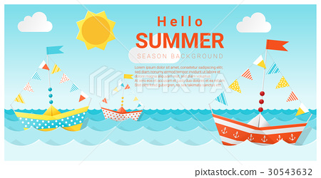 Hello summer background with colorful paper ship 30543632