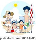 和家人一起在海灘游泳 30544605