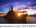 American Modern Warship On The Background Of 30544894