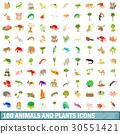 100 animals and plants icons set, cartoon style 30551421