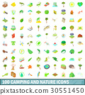 100, camping, icons 30551450