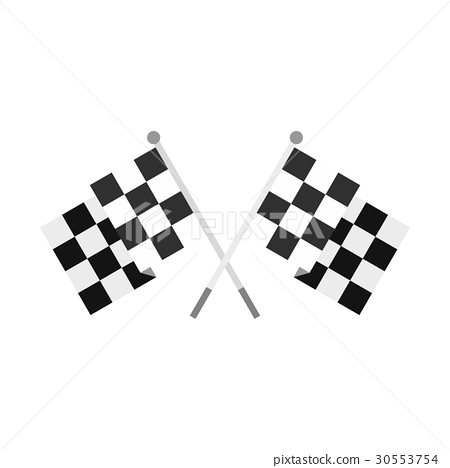 Crossed chequered flags icon, flat style 30553754