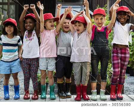 Group of kindergarten kids little farmers learning gardening 30556380
