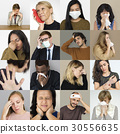 Set of Diversity People with Health Sickness Studio Collage 30556635
