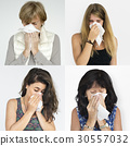 Set of Diversity People Blowing Nose Sickness Studio Collage 30557032