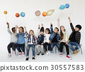 Happiness group of cute and adorable children with solar system in universe 30557583