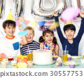 Happiness group of cute and adorable children having birthday party 30557753