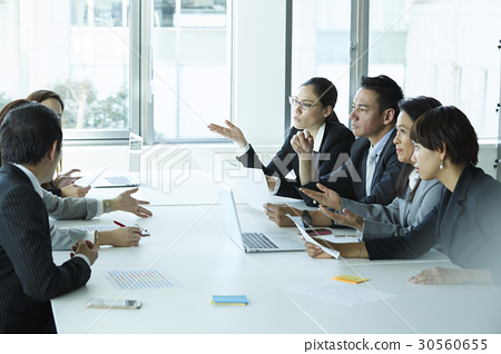 A group discussion of new business ideas in office. 30560655