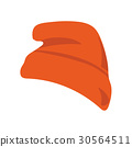Vector illustration: red beanie or seamed cap, also known as knitted or knit cap isolated. 30564511