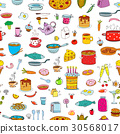 Seamless background meal and ware in doodle style. 30568017