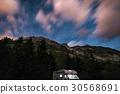 Camper van under moonlight, starry sky 30568691