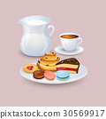Appetizing plate with pastries and sweet 30569917