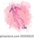 Roller skating. Grunge splash background. 30569920