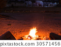 Couple sitting at burning camp fire in the night 30571456