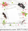 Sketchbook photo camera spring flowers floral 30571562