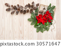 Christmas decoration Pine branches wrapped gift  30571647