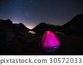 Camping under starry sky and Milky Way arc 30572033