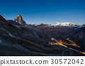 Aerial view at sunrise of Breuil Cervinia village 30572042