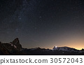 Wonderful starry sky over Matterhorn (Cervino) 30572043