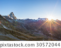 Aerial view at sunrise of Breuil Cervinia village 30572044
