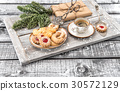 Christmas cookies coffee and decorations wooden 30572129