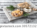 Christmas cookies coffee decorations wooden backgr 30572132