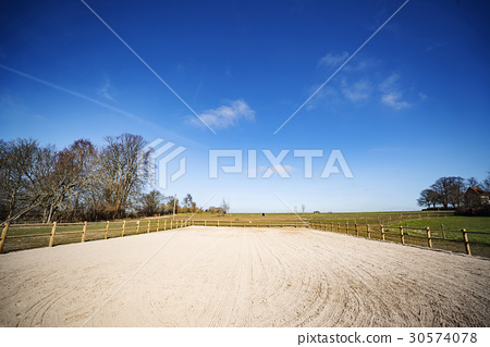 Horse course with a large fence 30574078