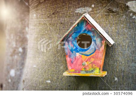 Colorful bird house in childish colors 30574096