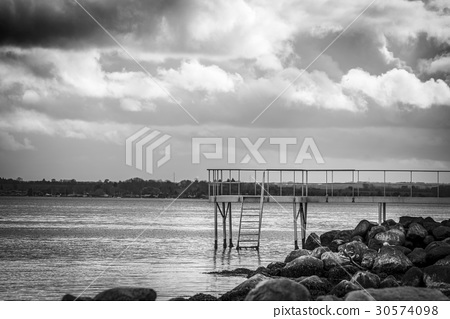 Jetty with a small bridge 30574098