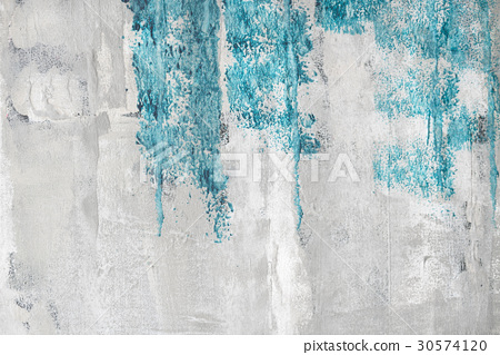 Blue paint on a grunge wall 30574120