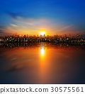 abstract nature background with panorama of city 30575561