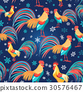 Colorful pattern with roosters 30576467