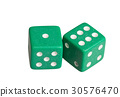 Two dice showing one and six 30576470