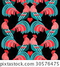 Bright pattern of decorative roosters 30576475