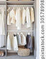 closet with white dress and shoes in wardrobe 30578998
