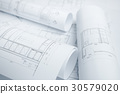 architectural drawing paper rolls of a dwelling 30579020