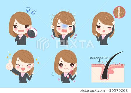businesswoman with dandruff problem 30579268
