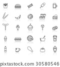 Fast food line icons with reflect on white  30580546