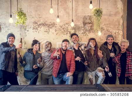 Diverse People Enjoy Beer Alcohol Drinks Pub 30585208