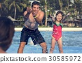 Family Swimming Pool Playing Togetherness Summer Holiday 30585972
