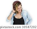 Caucasian Lady Embarassed Studio Concept 30587202