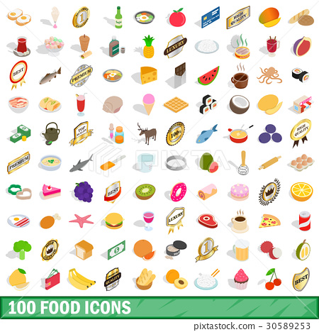 100 food icons set, isometric 3d style 30589253