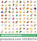 100, restaurant, icons 30589254