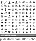100 water icons set in simple style 30589265